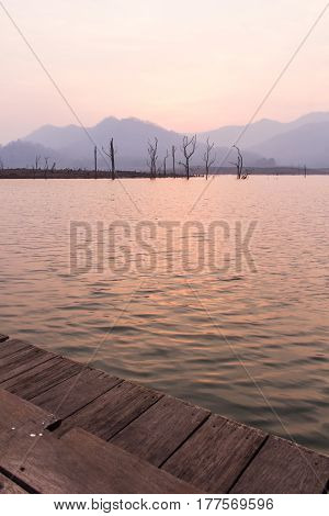Dry tree in Mawngad Dam, Chiangmai Thailand, lanscape