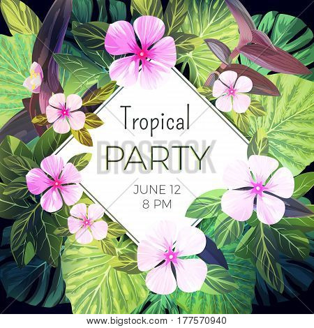 Bright green floral design template for summer party. Tropical flyer with green exotic palm leaves and pink flowers, vector illustration.