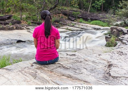 Thai woman at wang kauy waterfall doi inthanon national park, Chiangmai Thailand