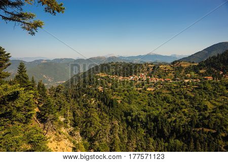 Cityview At Mountain Village Of Fidakia, Evritania, Greece