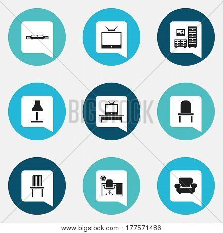 Set Of 9 Editable Interior Icons. Includes Symbols Such As Settee, Lectern, Cabinet And More. Can Be Used For Web, Mobile, UI And Infographic Design.