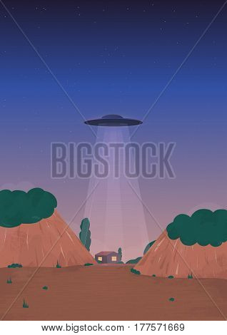 Alien ship arrival, UFO on the horizon, over the house. Cartoon style illustration.