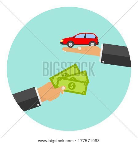 The Hand Holds Out The Money In Exchange For A Car