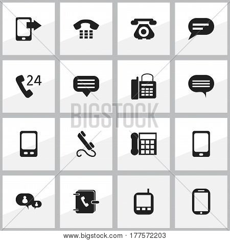 Set Of 16 Editable Phone Icons. Includes Symbols Such As Chat, Retro Telecommunication, Call And More. Can Be Used For Web, Mobile, UI And Infographic Design.