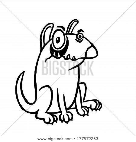 Cartoon angry dog. Funny cartoon fur cool character bull terrier. Contour freehand digital drawing cute dog. Cheerful pet sitting watching defend guard preserve secure for web icons and shirt. Isolated vector illustration.