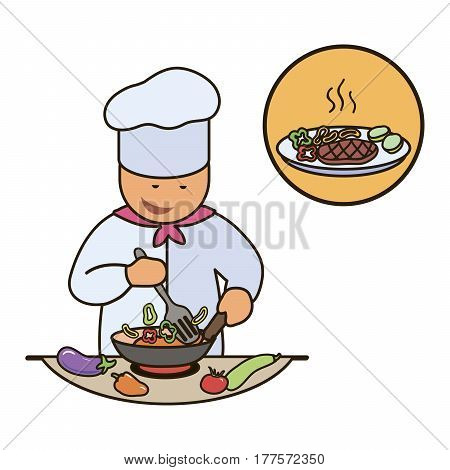Chef. Catering staff. Restaurant team. Colored icon on white background