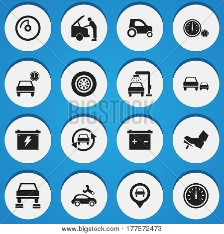 Set Of 16 Editable Traffic Icons. Includes Symbols Such As Pointer, Vehicle Car, Speed Control And More. Can Be Used For Web, Mobile, UI And Infographic Design.