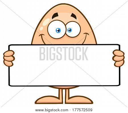 Cute Egg Cartoon Mascot Character Holding A Blank Sign. Illustration Isolated On White Background
