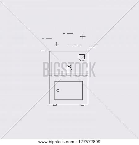 Sink outline icon. Restaurant equipment. Vector illustration.