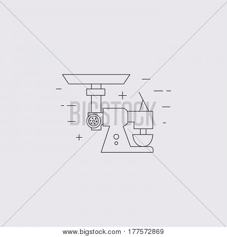 Meat Mincer Isolated Line Icon.