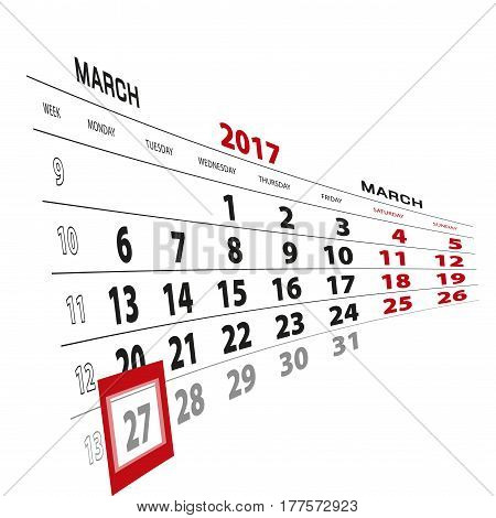 27 March Highlighted On Calendar 2017. Week Starts From Monday.