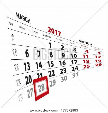 28 March Highlighted On Calendar 2017. Week Starts From Monday.