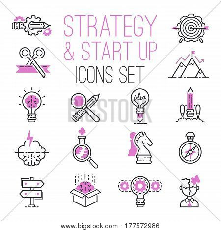 Startup project outline web busines sblack and purple icon set suitable for info graphics websites ui management finance start up vector illustration. Marketing concept analysis process strategy.
