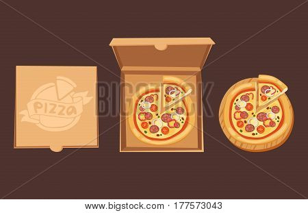 Pizza box delivery service. Craft pizza box isolated on background. Box for pizza. Pizza delivery business, food box, package