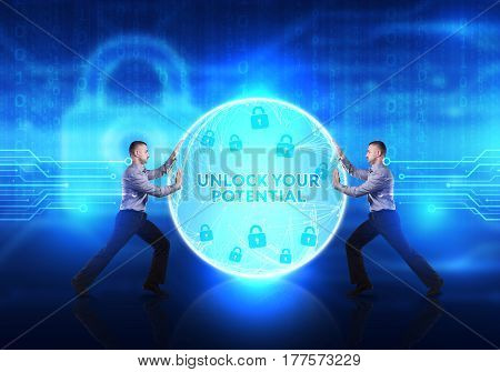 Technology, Internet, Business And Network Concept. Young Business Man Provides Cyber Security: Unlo