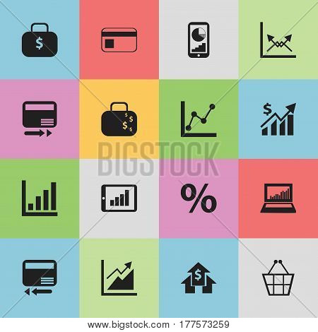 Set Of 16 Editable Logical Icons. Includes Symbols Such As Phone Statistics, Bar Chart, Trading Purse And More. Can Be Used For Web, Mobile, UI And Infographic Design.