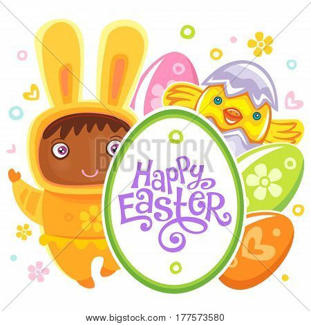 Colorful Easter Greeting Card child bunny and frame with Happy Easter text lettering. Rabbit baby, eggs and chicken. Use it as banner, invitation to egg hunting. Vector isolated on white background