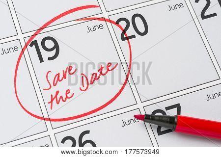 Save The Date Written On A Calendar - June 19