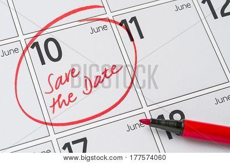 Save The Date Written On A Calendar - June 10