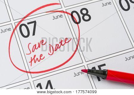 Save The Date Written On A Calendar - June 07