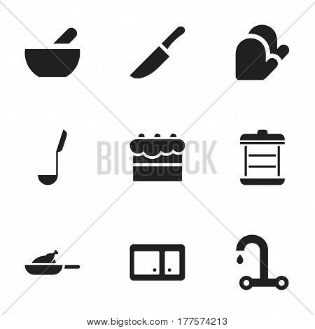 Set Of 9 Editable Food Icons. Includes Symbols Such As Faucet, Pastry, Grill And More. Can Be Used For Web, Mobile, UI And Infographic Design.