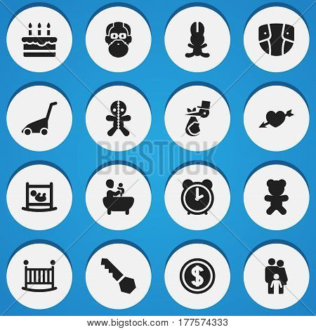 Set Of 16 Editable Kin Icons. Includes Symbols Such As Wizard, Lock, Diaper And More. Can Be Used For Web, Mobile, UI And Infographic Design.