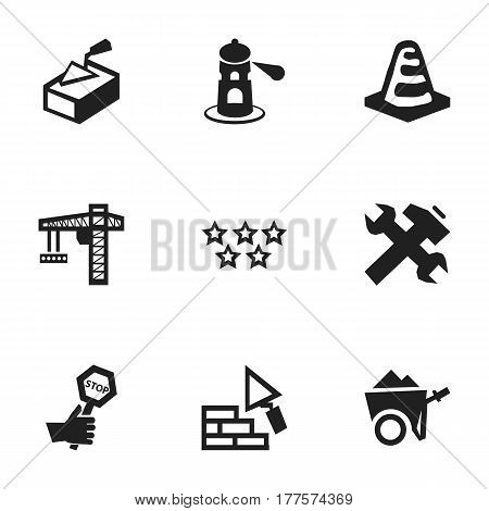 Set Of 9 Editable Structure Icons. Includes Symbols Such As Endurance, Five Starlet, Renovation And More. Can Be Used For Web, Mobile, UI And Infographic Design.