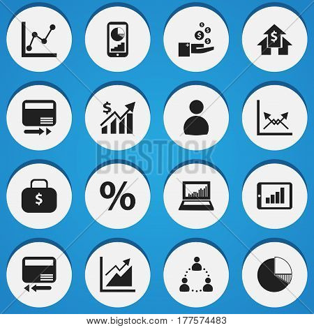 Set Of 16 Editable Analytics Icons. Includes Symbols Such As Schema, Equalizer Display, Percent And More. Can Be Used For Web, Mobile, UI And Infographic Design.