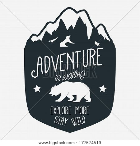 Adventure logo. Outdoor expedition typography, poster with mountains and bear. Climbing, Trekking, Hiking, Mountaineering stamp, explore more, hipster wear emblem. vector
