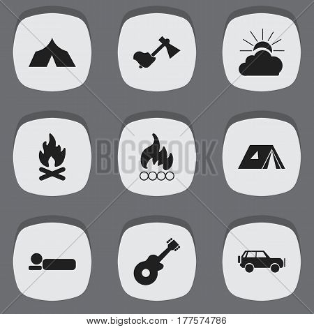 Set Of 9 Editable Trip Icons. Includes Symbols Such As Ax, Shelter, Bedroll And More. Can Be Used For Web, Mobile, UI And Infographic Design.