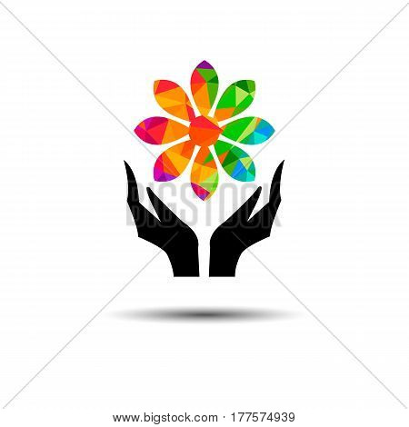 vector flower hand finger celebration graphic modern illustration beauty