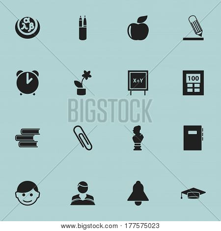 Set Of 16 Editable Graduation Icons. Includes Symbols Such As Pen Case, Writing, Bell And More. Can Be Used For Web, Mobile, UI And Infographic Design.