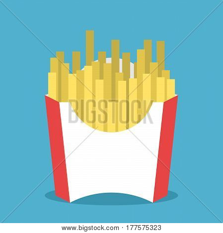 French fries or fried potato in white and red package on blue background with drop shadow. Flat design. Vector illustration. EPS 8 no transparency