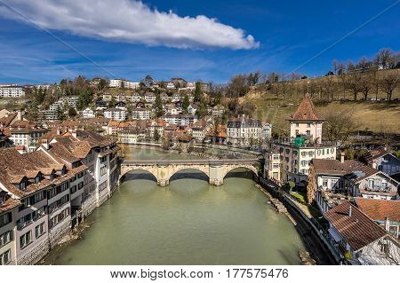 Bern on the Aare river the capital city of Switzerland