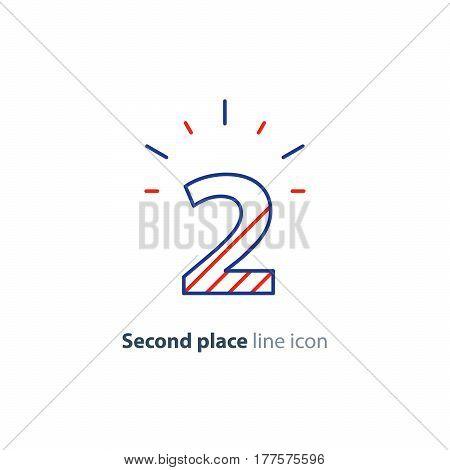 Second place concept, vector mono line icon