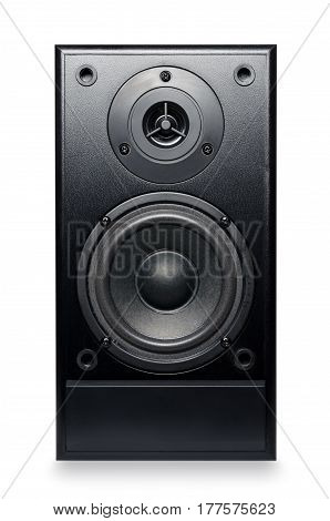 Black sound speaker isolated on white background.