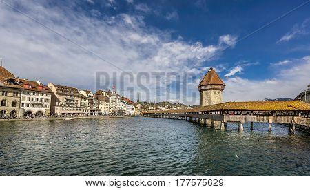 Chapel bridge also known as Kapellbruke in Lucerne Switzerland