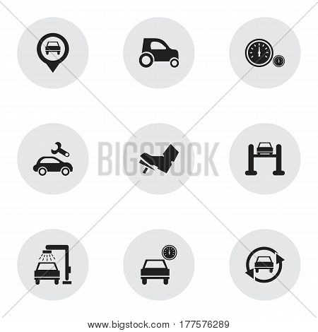Set Of 9 Editable Vehicle Icons. Includes Symbols Such As Speedometer, Treadle, Pointer And More. Can Be Used For Web, Mobile, UI And Infographic Design.