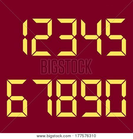 Electronic figures. The numbers are yellow. Red background. Vector illustration