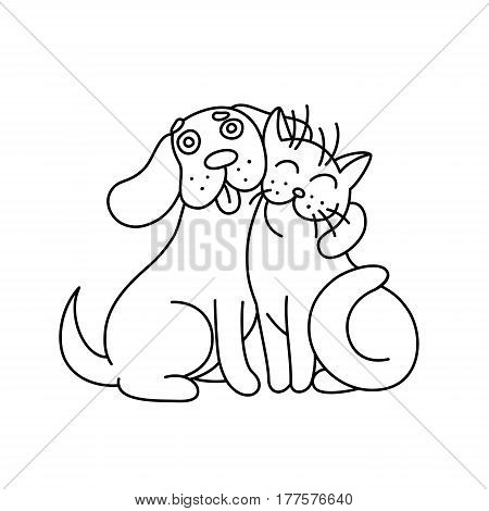 Cute dog hugs cat. Funny cartoon picture. Good emotions.Vector illustration.