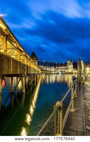 Chapel bridge also known as Kapellbruke in Lucerne Switzerland
