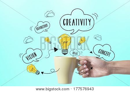 hand holding coffee cup with lightbulb. concept for new ideas with innovation and creativity.