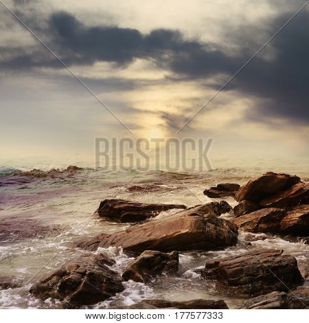 beautiful ocean with rocks in rainy day, island of Thailand