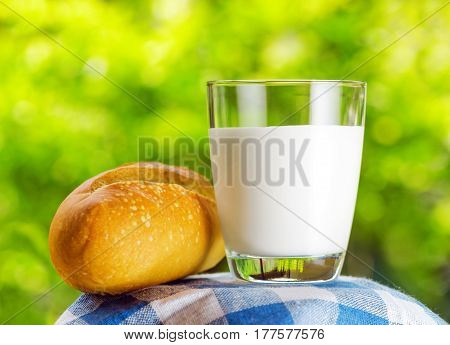 Fresh Milk And Bread On Nature Background