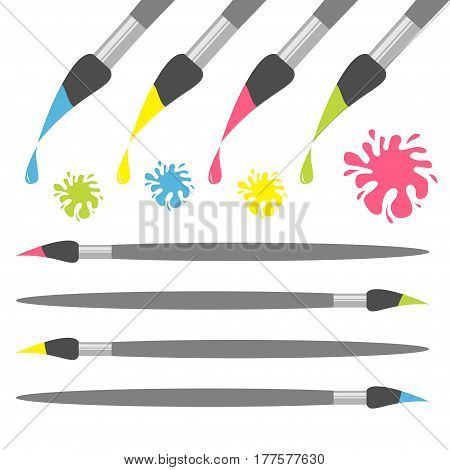 Paint brush icon set. Pink yellow blue green color drop. Ink blot splash Back to school. Flat design. Isolated. White background. Vector illustration