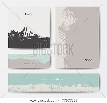 Modern grunge brush design templates, invitation, banner, art vector cards design in soft pastel colors