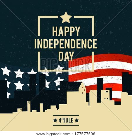 American Independence Day. The 4th of July. A banner with the American national flag on the background of city buildings. Vector illustration.