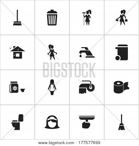 Set Of 16 Editable Cleaning Icons. Includes Symbols Such As Housewife, Hygienic Roll, Chores And More. Can Be Used For Web, Mobile, UI And Infographic Design.