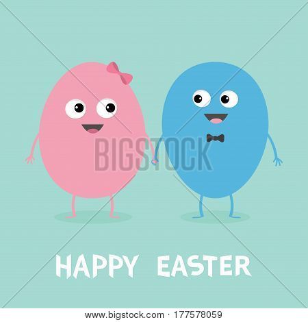 Happy Easter Painting Egg couple family looking on each other. Smiling face. Bow tie. Cute cartoon character set holding hands. Boy girl Friends forever Love Greeting card Flat Blue background. Vector