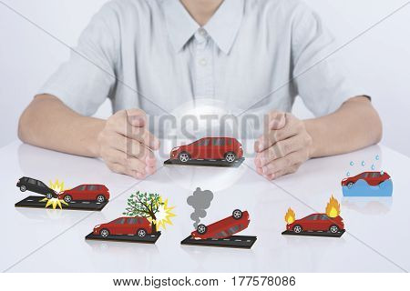 business salesman agent protection car insurance. concept accident prevention healthcare.